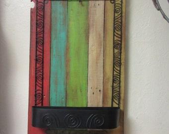 Hippy Gypsy Smaller hangin pallet wood Hall tree * wall organizer,key ,jewelry holder ,funky home decor