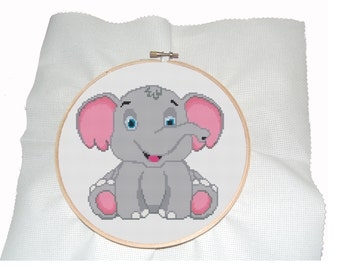 Cross stitch pattern of little elephant-pdf-modern pattern