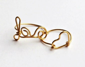 Love and Heart Gold Plated Stacking Rings