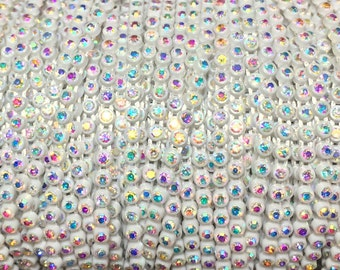 SS8 White Rhinestone Banding with an AB Stone