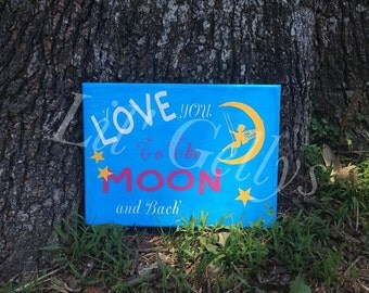 9x12 canvas,heat vinyl,love you to the moon,canvas art,wall art canvas,wall art,canvas quote,canvas wall hanging,happiness wall art,positive