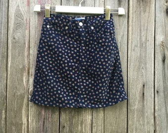 Vintage Skirt/ 90s/ Naj-Oleari/ blue/ size S/ 100% cotton/ high waist/ fantasy floral/ Made in Italy