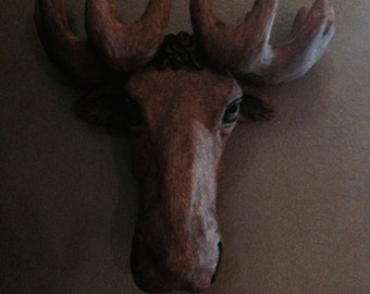 Moose head wall hanging