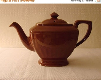 SPRING SALE 40% OFF-- Hall Teapot > Rectangular and Fluted > Brown