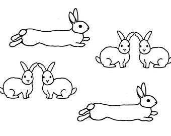 Rabbit Tattoo Sticker/Bunny Temporary Tattoo/ Animal Body Tattoo/Set of 4