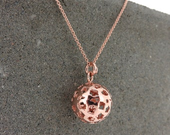 Silver & Rose Gold Cutout Bell Ball Pendant Necklace