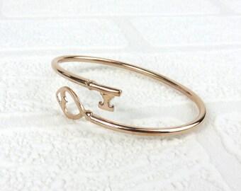 Silver Heart Key Bangle - Gold Plated
