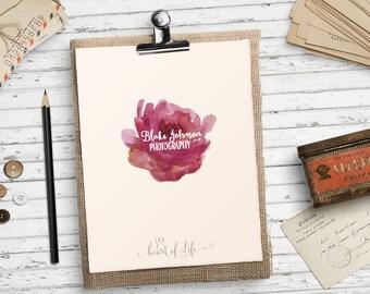 Flower logo design | Pink flower logo | Photographer logo design | Girly logo download | Floral logo | HEART OF LIFE Design | File #120