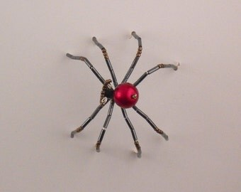 Red and black beaded spider - home decor