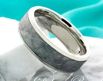 White Gold and  Meteorite Wedding Ring 7mm 14k Gold Wedding Ring Meteorite Wedding Ring Gold Meteorite Mens Ring Mereorite Anniversary Ring
