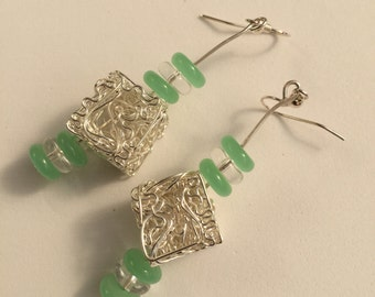 Hand Crafted Silver and Green Beaded Earrings.