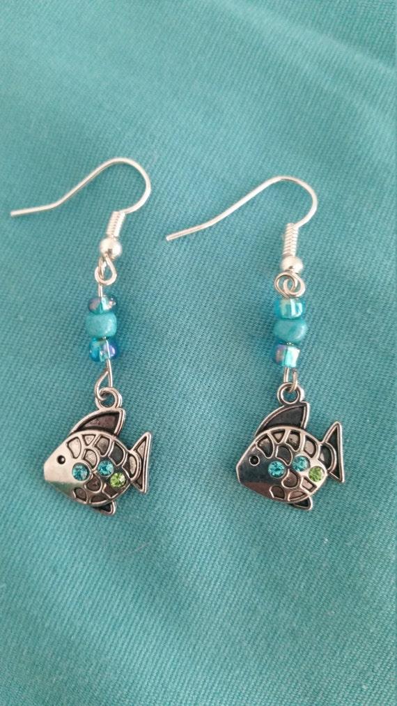 handmade fish drop earrings