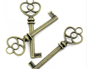 Skeleton Key - Bronze Decorative Key - Decorative Keys in Packs 5 or 10 - Invitation Key, Housewarming, Key to My Heart, More - KEYB01