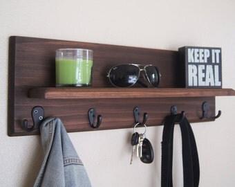 Floating Shelf with Coat and Key Hooks Handmade Solid Wood