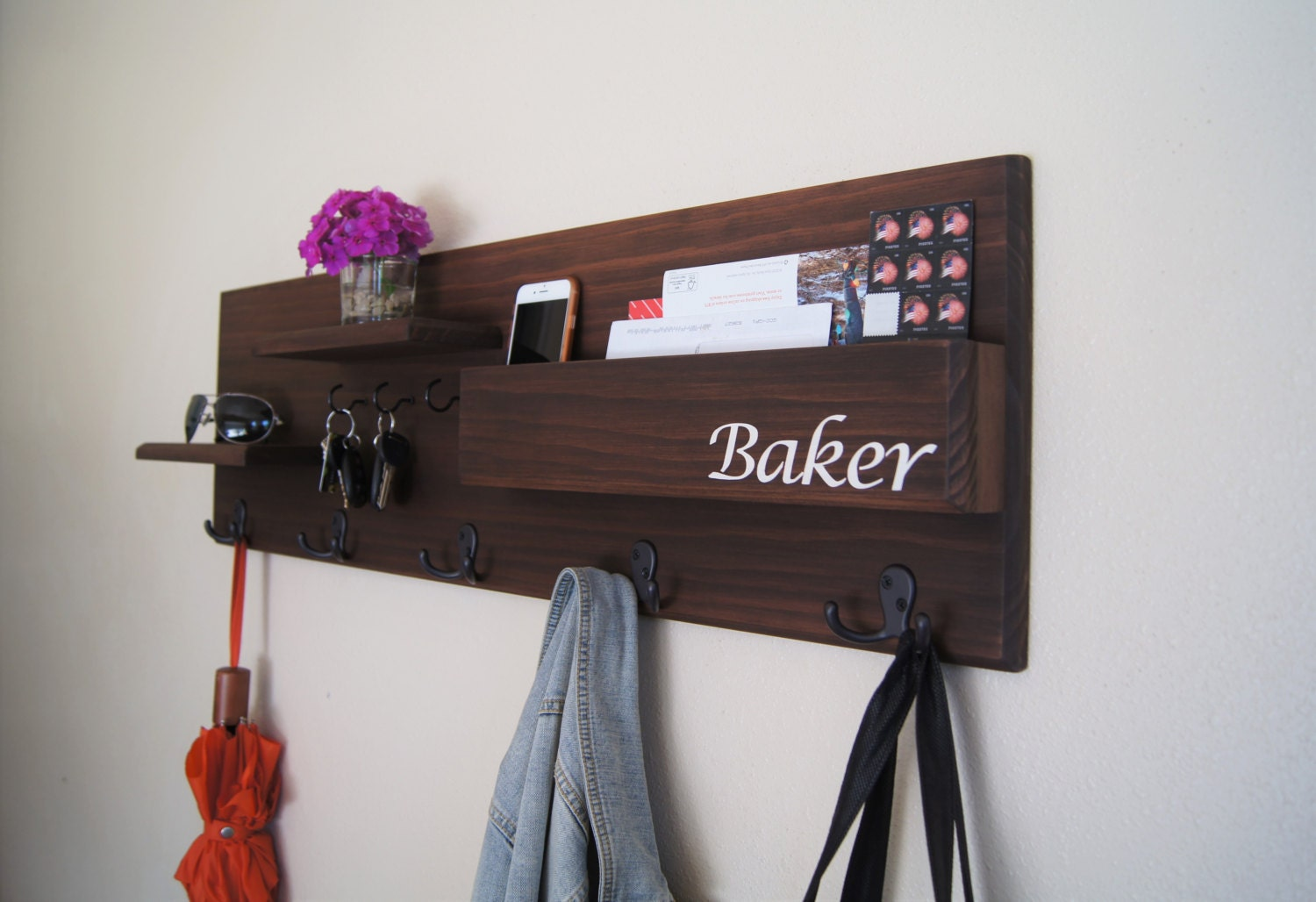 coat rack wall mounted with mail storage coat by midnightwoodworks. Black Bedroom Furniture Sets. Home Design Ideas