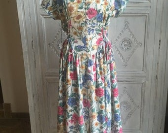 Vintage St. Michael Floral Summer Dress - 1980s Size UK 16-18