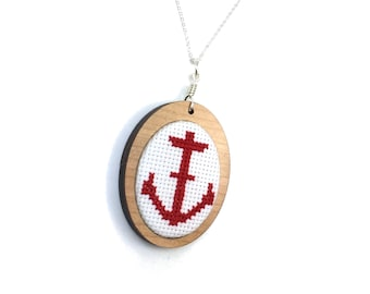 Anchor Pendant Necklace Sailor Jewelry Nautical Embroidery Cross Stitch Pendant Embroidered Jewelry Walnut MDF Setting