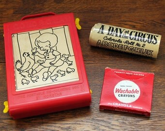 Vintage 1960s Norstar Colorola Re-Coloring Box w/ Washable Crayons & Extra Roll