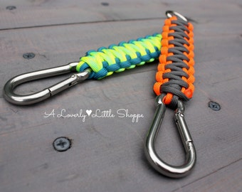 King Cobra Paracord Keychain with Stainless Steel Carabiner and Welded D-ring - Key Fob - Choose Your Colors - Custom - Handmade