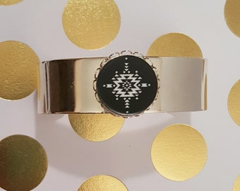 Cuff Bracelet Aztec cuff Silver Cuff silver plated gold plated jewelry christmas present christmas gift native american western abstract