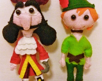 Peter Pan and Captain Hook. Stuffed animals toy birthday gift for children