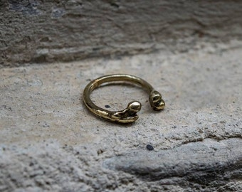 Bones Adjustable  Ring in Golden Brass