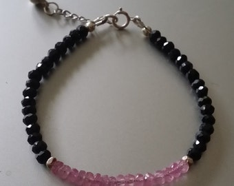 Faceted Pink Sapphire and Black Spinel Bracelet with Sterling Extender Chain and Ball Chime Charm