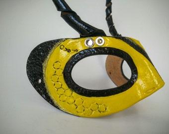 Masquerade Yellow Bee Handmade Leather Mask