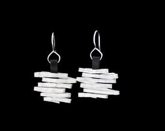 Gift For Her, Wrap Wire Earrings, Statement Earrings,  Silver Earrings, Black Leather Earrings, Lightweight Earrings, Stylish .