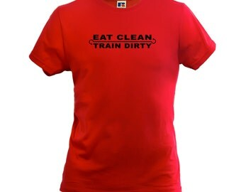 Eat Clean Train Dirty Men's Boys T-Shirt Gym Fitness Style Top Slogan