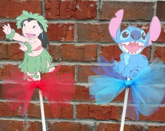 Set of 4 Lilo & Stitch themed Centerpiece Picks or Cake Toppers