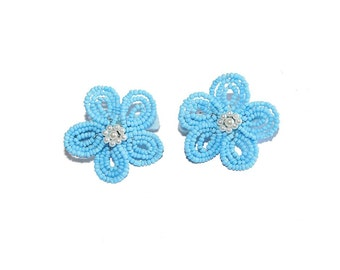 2pc Beaded Flower Hair Clips on French Barrette. Light-Blue & White Pearls Hair Accessories for Girl Teen Bridesmaid. French Beaded Flowers