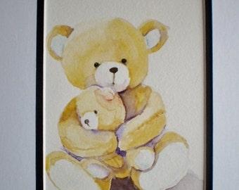 Teddy Bear painting, original watercolor,  childs room art, nursery decor