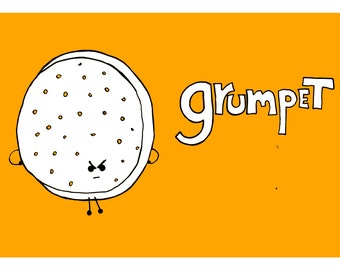 Grumpet - A4 Giclee Fine Art print - Kitchen Print - Childrens Print - Kitchen Wall Art - Quirky Illustration