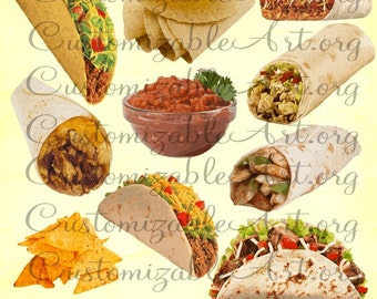 Mexican Food Clipart Digital Mexican Food Clip Art Taco Hard Shell Tortilla Chips Cheese Burrito Nacho Salsa Dip Image Graphic Pics PNGs