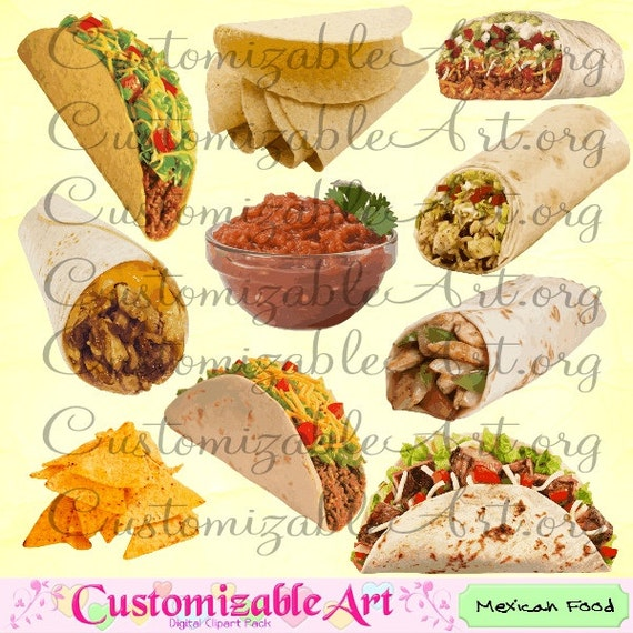 Mexican Food Clipart Digital Mexican Food Clip Art Taco Hard