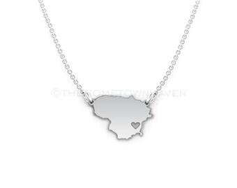 Lithuania Necklace - Lithuania map necklace, Lithuania charm necklace, Lithuania outline necklace