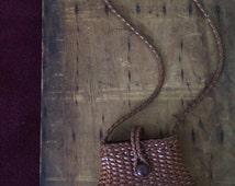 Vintage Boho Woven Leather Handbag Purse/ Ellepi Hand Made in Italy