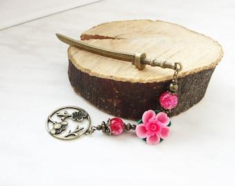 Metal hair stick - japanese festival style katana hair pin pink sakura polymer clay blossom flower hair ornament chopstick - choose stick