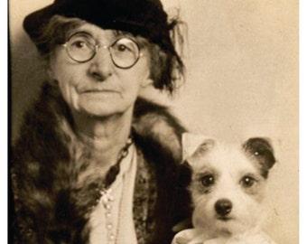 Vintage Photo of Old Woman w/dog Birthday Card, Lesbian Birthday Card    *****VFBD1006