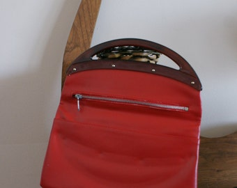 Red Genuine Leather Clutch Evening Bag Small Purse with Red Plastic Handle Made in Italy BT-313