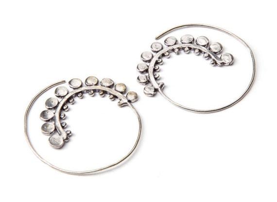 White Brass Tribal Bold Dotted Design Spiral Earrings Tribal Earrings Mandala Jewellery Free UK Delivery WB25