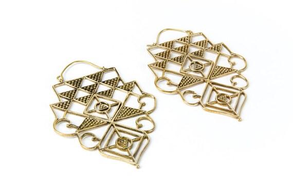 Big Mandela Brass Earrings with clasp handmade, Brass, Indian Style , Tribal Earrings, Gift boxed, Free UK post BG4