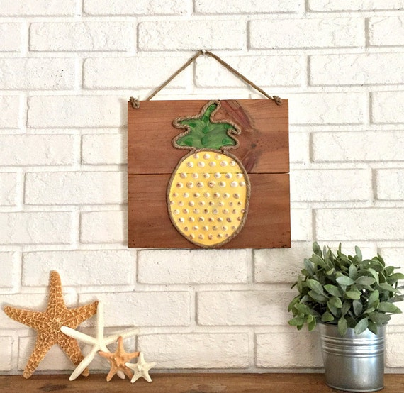 Pineapple Decor Tropical Decor Wood Pineapple Art By Sablesol