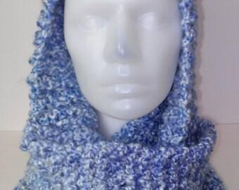 Soft blues chunky handknit cowl