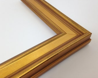 gold picture frame with scooped edge 3x5 4x6 5x7 8x10 11x14 16x20 18x24 24x36 custom sizes all wood picture frame real gold leaf