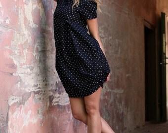 Linen Dress With Pockets / Boho short dress / Black linen dress / Knee length dress / Polka dot dress / Beach dress