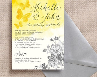 yellow gray wedding invitations | etsy uk, Wedding invitations