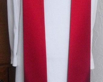 """REDUCED PRICE -- Red Clergy Stole, Ready to Ship in a 50"""" Length -- Discontinued Design by Serendipity Clergy Stoles"""