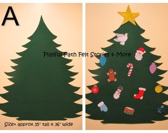 """Large Felt Christmas Tree & Ornaments SET - Approximately 35-36"""" tall by 36"""" wide"""